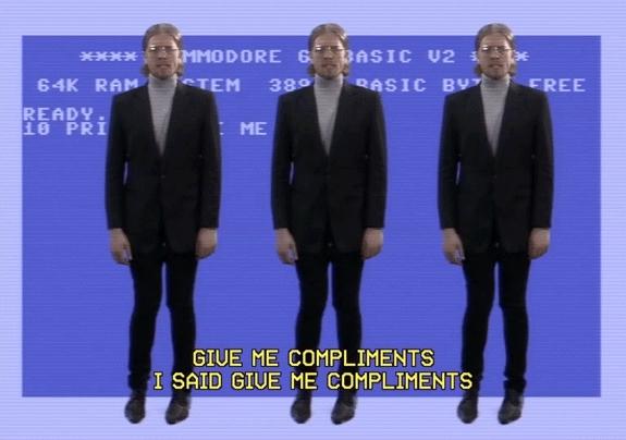 gfycatdepot, Give me compliments. I said give me compliments. [Kollektivet Music Video fake german nerd dance wiggle shimmy Shaq up votes arrow] (reddit) GIFs