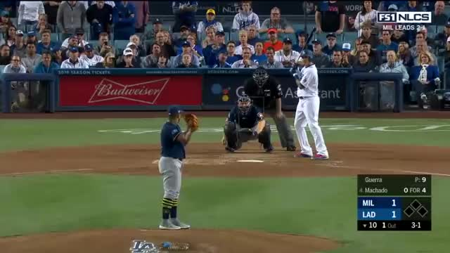 Highlights Today, Sports, first take, highlights, mlb, nba, news, nfl, Benches clear after Machado Aguilar altercation | Dodgers vs Brewers | NLCS Game 4 GIFs