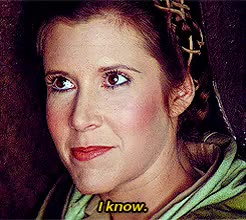 Watch this carrie fisher GIF on Gfycat. Discover more carrie fisher, i know, princess leia GIFs on Gfycat