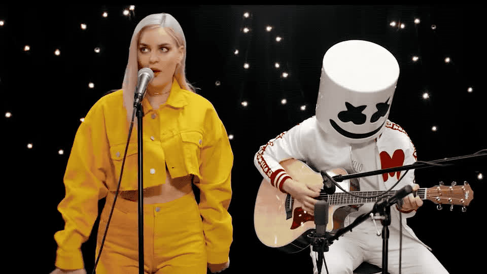 acoustic, anne, annoyed, anthem, bff, bitch, friends, friendzone, guitar, marie, marshmello, new, omg, please, seriously, sing, stop, video, whatever, yellow, Marshmello & Anne Marie - Friends GIFs
