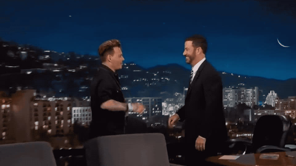I, I love you, awkward, awww, depp, in, jimmy, johnny, kimmel, kiss, kisses, kissing, live, love, mouth, passion, passionate, smooch, you, Johnny Depp kissing Jimmy Kimmel GIFs