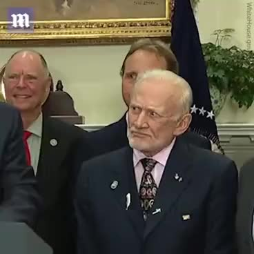 Watch and share Buzz Aldrin's Face When Donald Trump Jr. Talks About Space Is Absolutely Hilarious GIFs on Gfycat