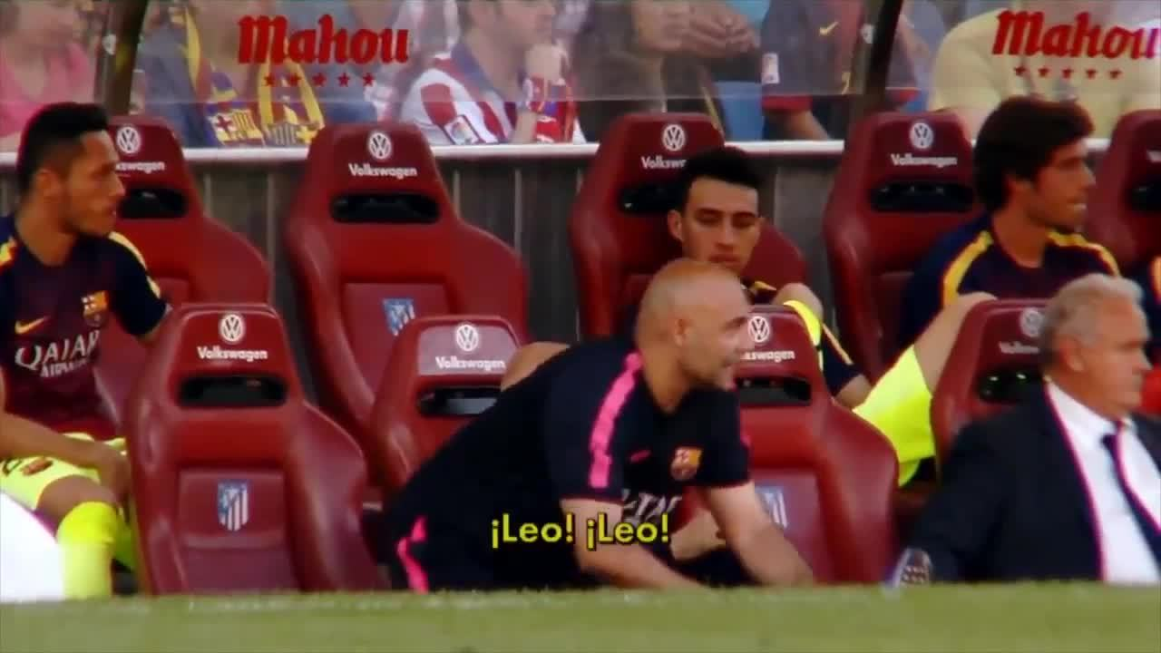 soccergifs, Messi reacts to the news that Espanyol pulled level against Real (X-post from r/soccer from u/wackyguards ) (reddit) GIFs
