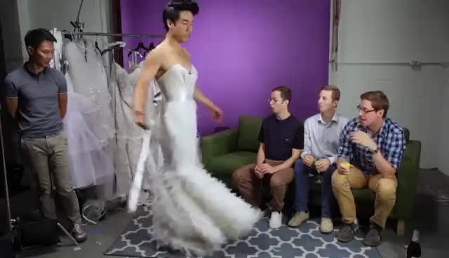 Watch and share The Try Guys Try Wedding Dresses GIFs on Gfycat