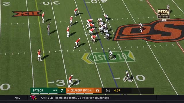 Watch and share Justin Phillips-Cole Walterscheid Strip-Sack Baylor 2017 GIFs by Pistols Firing on Gfycat
