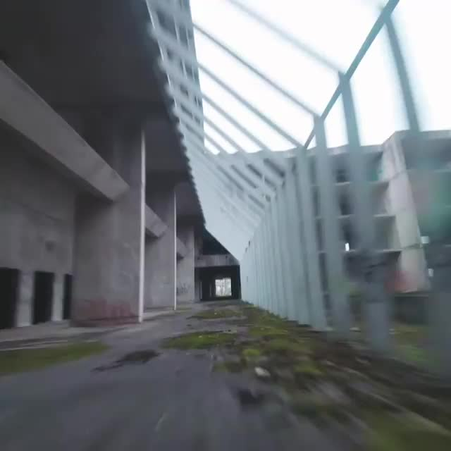 Incredible drone run through an abandoned warehouse GIFs