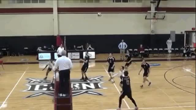Watch Ryan Garven of Cairn University nails Trey Biggs of Hannibal-Lagrange University in the face with a vicious spike. #volleyball #college #sports GIF on Gfycat. Discover more related GIFs on Gfycat