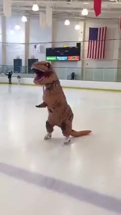 Watch and share Tyrannosaurus Rex GIFs and Ice Skating GIFs by Elaine Cheng on Gfycat