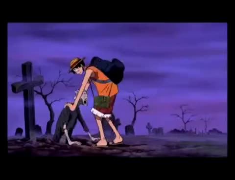 OnePiece, Luffy Handles a zombie GIFs