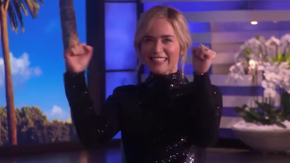 awesome, backstreet, blunt, boys, celebrate, degeneres, duet, ellen, emily, excited, happy, laugh, lol, show, smile, surprise, victory, yay, yeah, yes, Emily Blunt Gets a Backstreet Boys Surprise for an Unexpected Duet GIFs