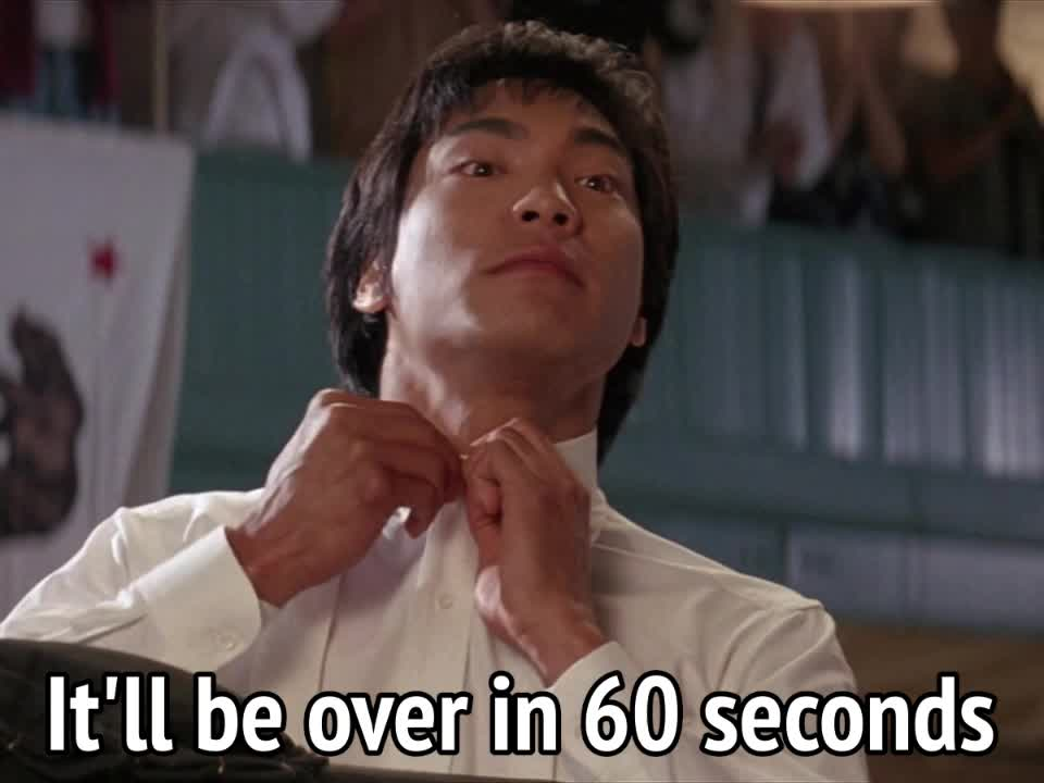 jason scott lee, minute, quicky, Dragon The Bruce Lee Story - It'll be over in 60 seconds GIFs