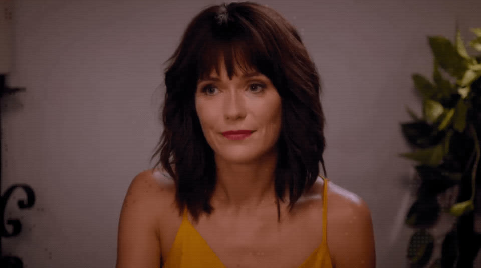 annoyed, cheers, cool story bro, fun mom dinner, katie aselton, nice, over it, Fun Mom Dinner GIFs