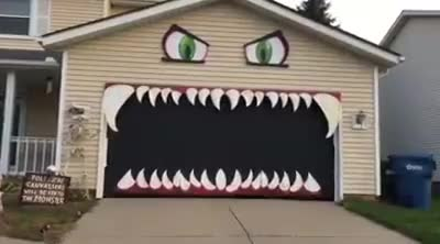 Watch and share Garage Door Looks Like Monster GIFs on Gfycat