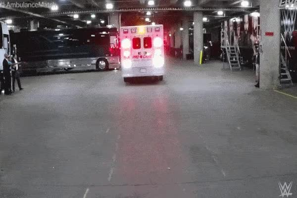 Watch and share Roman Reigns Braun Strowman Ambulance Crash Great Balls Of Fire GIFs by Matthew Pack on Gfycat