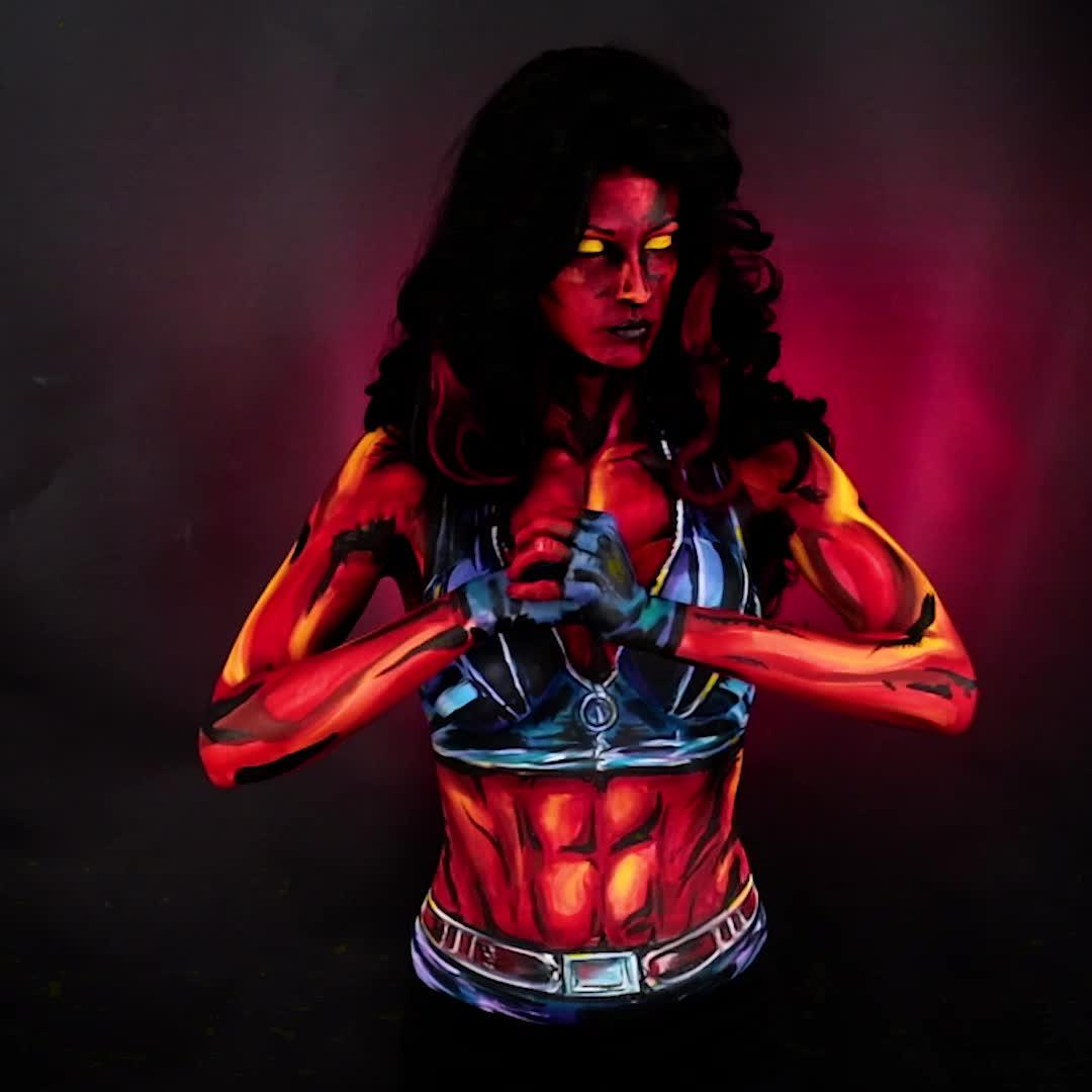 bodypaint, kaypikefashion, red, reshehulk, shehulk, twitch, red she hulk bodypaint by kaypike GIFs