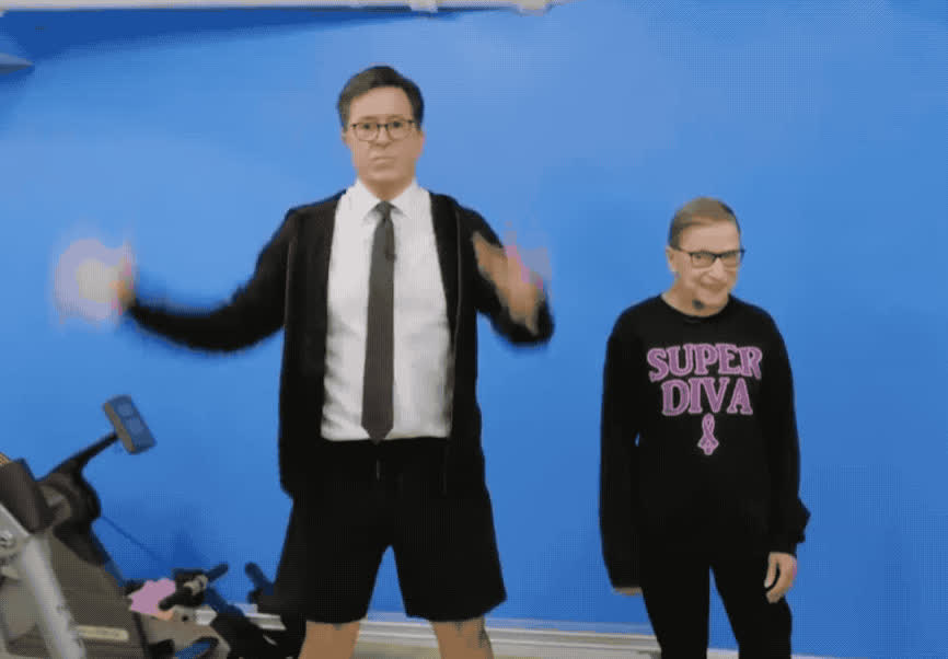 bader, dance, dancing, excited, fit, ginsburg, golbert, out, party, ruth, stephen, work, yay, yeah, Stephen works out with Ruth Bader Ginsburg GIFs