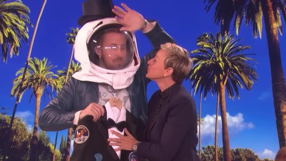 I, I love you, astronaut, aww, couple, cute, degeneres, ellen, gosling, hug, i, i love you, kiss, kisses, love, mouth, romantic, ryan, show, sweet, together, you, Ellen and Ryan Gosling  GIFs