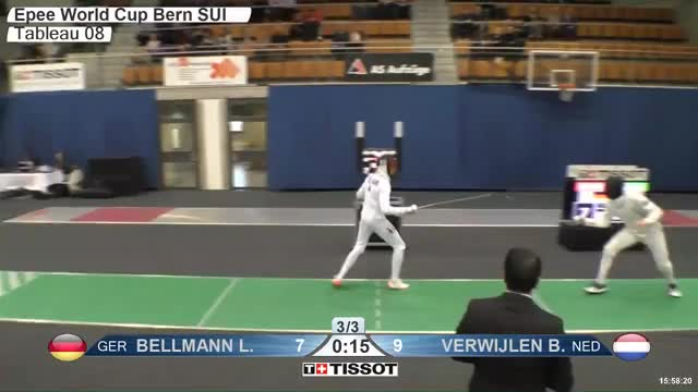 Watch BELLMANN Lr 7 GIF by Scott Dubinsky (@fencingdatabase) on Gfycat. Discover more gender:, leftname: BELLMANN Lr, leftscore: 7, rightname: VERWIJLEN B, rightscore: 10, time: 00023365, touch: right, tournament:, weapon: epee GIFs on Gfycat