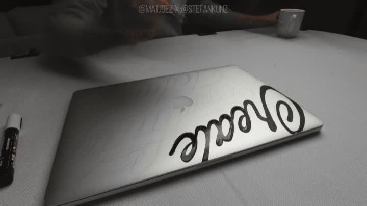 kessler crane, laptop art, letter art, lettering art, matjoez, matjoez timelapse, moco timelapse, motion control, stefan kunz, stefan kunz art, timelapse, Drawing on a laptop GIFs