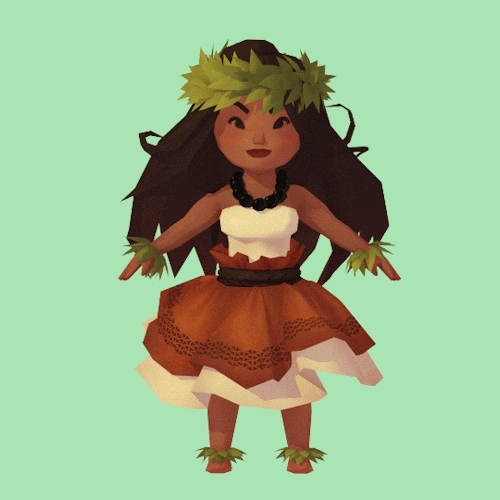 cg art, gif, hula, i wish tumblr would allow slightly larger file sizes for gifs., low poly, steph merriman, stephmerriman, turntable, Low Poly Hula Dancer. GIFs