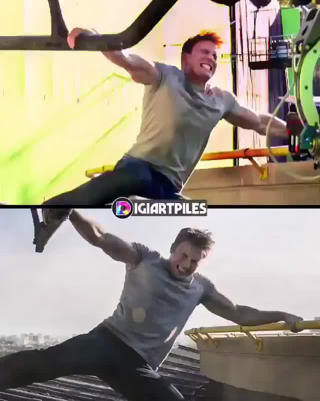 celebs, Side by side of behind-the-scenes footage of Captain America: Civil War and the finished product GIFs