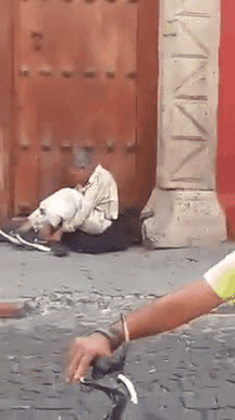 Shoeless tourist commands homeless man to give him his shoes • r/reverseanimalrescue GIFs