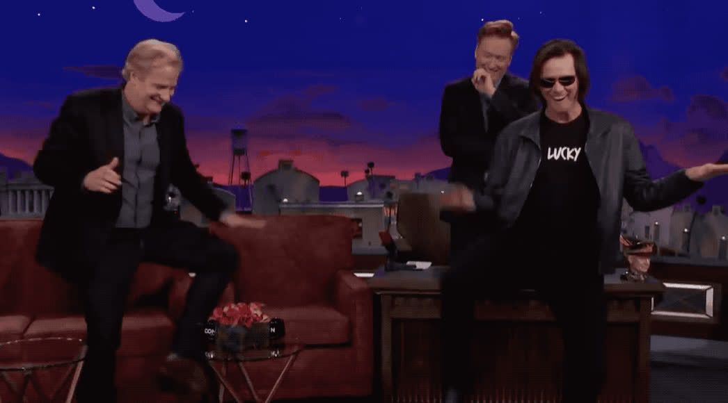 brien, carrey, celebrate, conan, dance, dancing, daniel, dumb, excited, funny, happy, jeff, jim, laugh, lol, o, obrien, show, silly, stupid, Jim Carrey crashes Jeff Daniels' interview GIFs