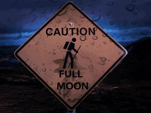 Watch and share Full Moon #moon #fullmoon #caution #warewolf #hiker #sign #gif GIFs on Gfycat