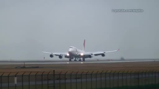 Watch and share Japan Airlines B747 400 Nice Landing In The Rain   YVR GIFs on Gfycat