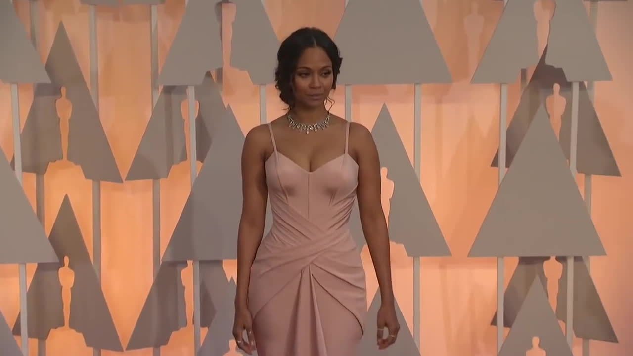 hollywood, movie, movies, red carpet, rihanna, Oscars: Zoe Saldana Red Carpet Fashion (2015) GIFs