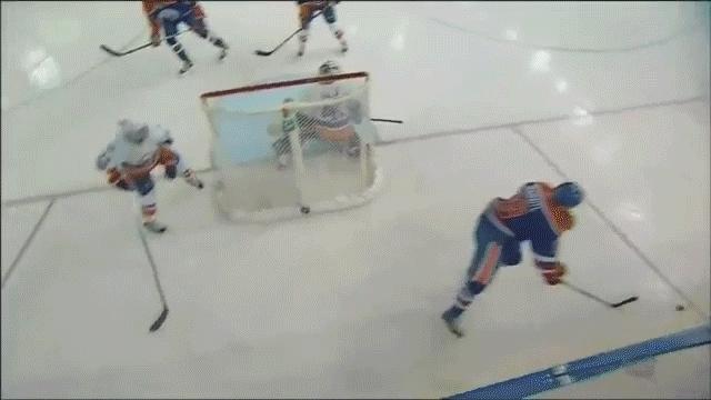 edmontonoilers, hockey, newyorkislanders, Leon Draisaitl (16) Backhand shot - ASST: Taylor Hall (34), Zack Kassian (3) GIFs