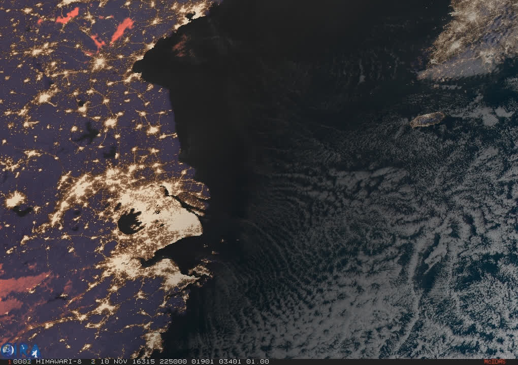 2016/11/11 - Thick smog over the East China Sea - Geocolor HTML5 Loop | Animated GIF | MP4 Video GIFs