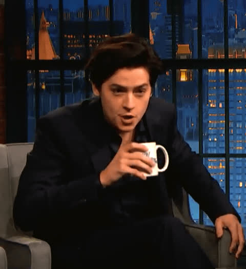 awkward, cole sprouse, gossip, juicy, tea, uncomfortable, Cole Sprouse Sips the Tea GIFs
