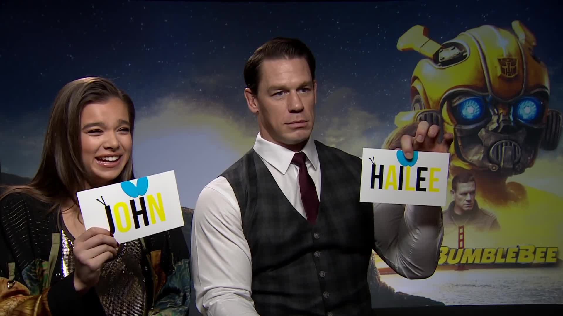 John cena, bumblebee, bumblebee movie, comedy, fun, hailee steinfeld, john cena, john cena meme, lovevie, lovevie interview, lovevie mumma mia, lovevie mummamia, makeup, skit, JOHN CENA & HAILEE STEINFELD PLAY WHO'S MOST LIKELY TO! BumbleBee Movie Interview / Lovevie GIFs