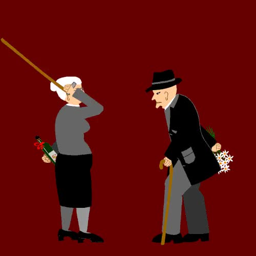 Watch this anniversary GIF on Gfycat. Discover more 50th wedding anniversary, animated vector gif, animation, anniversary, couple, flowers, gif, golden wedding, happy anniversary, love, love and hate, love-hate relationship, marriage, old couple, raglintha, walking sticks, wedding, wine GIFs on Gfycat