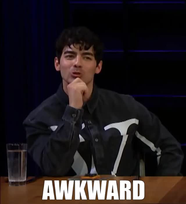 Watch this awkward GIF by Grower of GIFs (@gifgrower) on Gfycat. Discover more answer, awkward, blush, brothers, corden, embarrassed, fill, funny, guts, james, joe, jonas, late, lol, night, reunion, show, spill, the, your GIFs on Gfycat