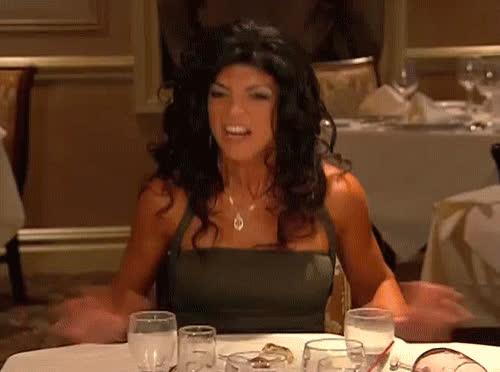 angry, rage, real housewives, teresa giudice, violent, Teresa Giudice Pushes Over Table GIFs