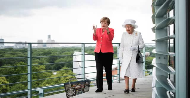 Watch and share PsBattle: Queen Meets Angela Merkel On Visit To Berlin (reddit) GIFs on Gfycat