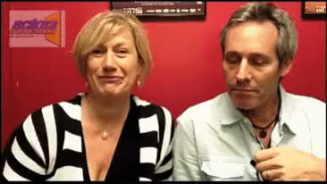 Jayne Atkinson and husband, Michel Gill doing a Q and A for