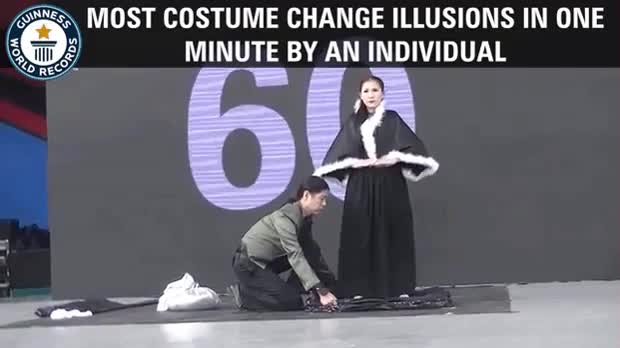 Lady setting the record for the most costume change illusions in under a minute GIFs