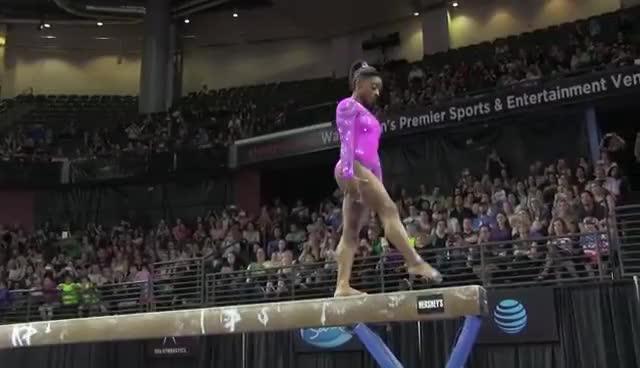 gymnast, gymnastics, simone biles, Simone Biles (USA) - Balance Beam - 2016 Pacific Rim Championships Team/AA Final GIFs