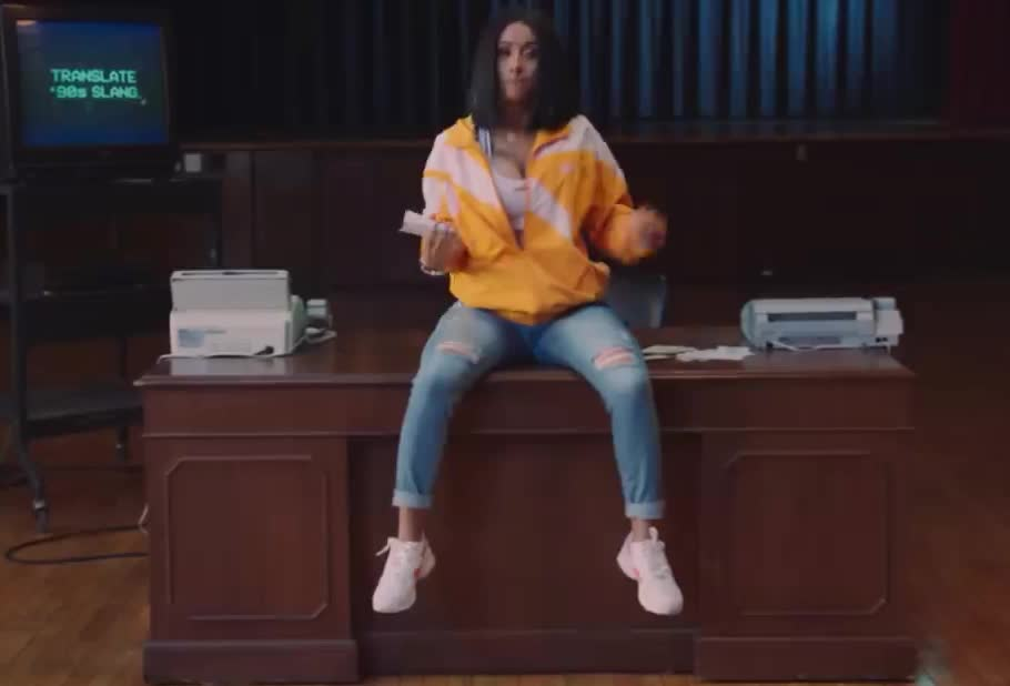 90's, 90s, awesome, b, bomb, booyah, caardi, classic, did, excited, exciting, it, presents, reebok, smile, surprised, tada, the, yay, yeah, Reebok Classic Presents Cardi B vs. The 90s GIFs