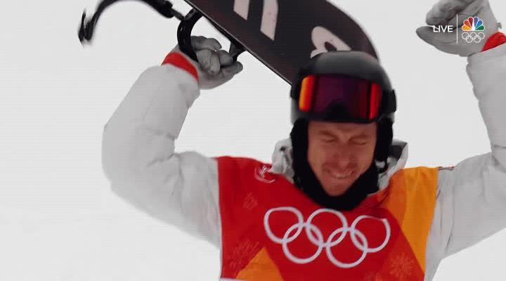 2018, PyeongChang, gold medal, halfpipe, olympics, shaun white, snowboarding, south korea, team usa, victory, yes, Shaun White Wins Halfpipe Gold Medal - Olympics 2018 GIFs