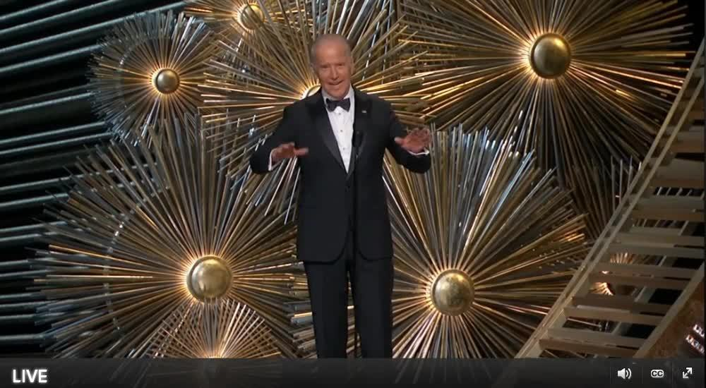 joe biden, oscar, sexual assault, Joe Biden at the 2016 Oscars GIFs