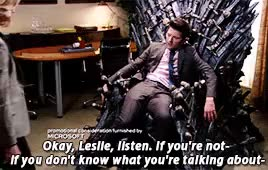 Watch this iron throne GIF on Gfycat. Discover more ben wyatt, ben x leslie, game of thrones, iron throne, pannedpandawork, parks and rec, parks and rec s06e14, parks and recreation, parksedit, star trek GIFs on Gfycat