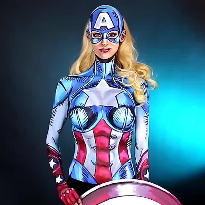agentsofshield, america, americandream, avengers, blonde, bodyart, bodypaint, cospaint, cosplay, facepaint, marvel, marvelcomics, sfx, sigmapro, streamer, twitch, twitchcreative, twitchtv, usa, wig, American Dream I painted on July 30th on 🎨 http://www.twitch.tv/kaypikefashion 🎨 AND I AM PAINTING AGAIN TODAY SATURDAY September 10th Her GIFs