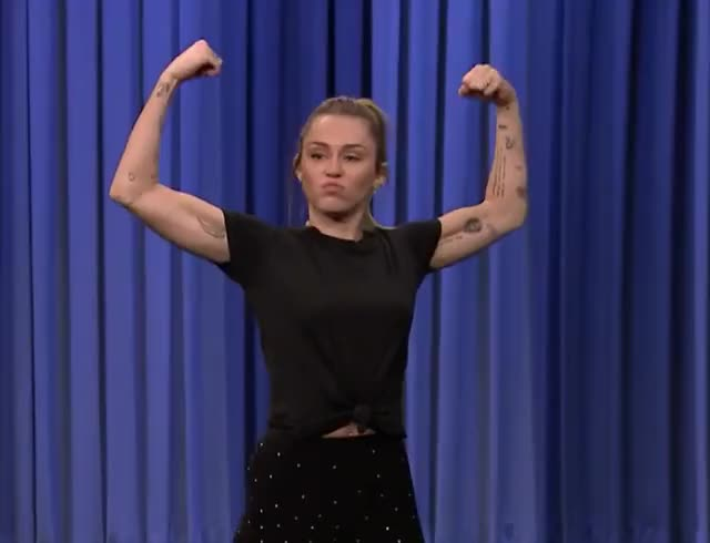 Watch this miley cyrus GIF by GIF Queen (@ioanna) on Gfycat. Discover more battle, cyrus, fallon, fit, jimmy, lip, loser, miley, miley cyrus, show, strong, sync, tonight, win, winner GIFs on Gfycat