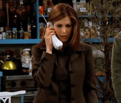friends, jennifer aniston, oh, omg, phone, rachel green, shock, surprise, what, Friends - Rachel OMG GIFs