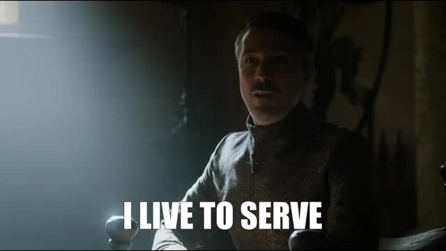 Watch this game of thrones GIF by Pakalu Papito (@entfanatic) on Gfycat. Discover more aiden gillen, game of thrones, littlefinger, live to serve, petyr baelish, service, you're welcome GIFs on Gfycat