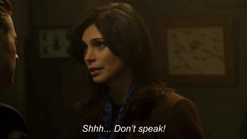 morena baccarin, quiet, shh, shhh, shush, silence, Don't speak. GIFs
